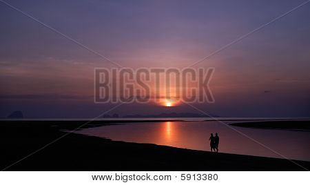 Romantic walk walk on a beach