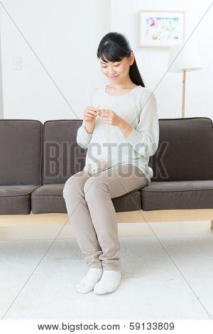 Beautiful asian woman in the room