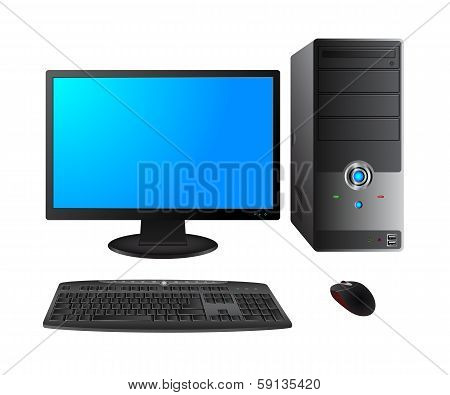 Computer case with monitor,keyboard and mouse