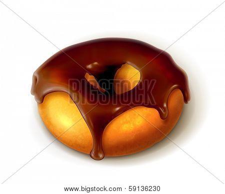 Ring donut in chocolate glaze, bitmap copy