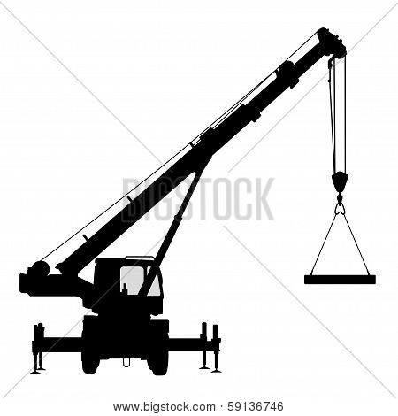 Crane. Silhouette on a white background.