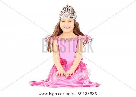 Cute little girl dressed up as princess wearing a tiara isolated on white background