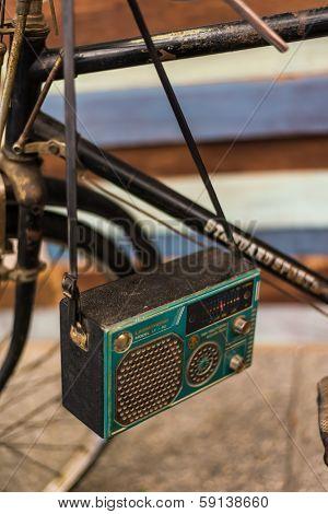 antique radio on vintage