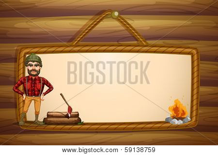 Illustration of a woodman and the hanging empty template