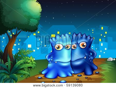 Illustration of the two monsters strolling in the middle of the night