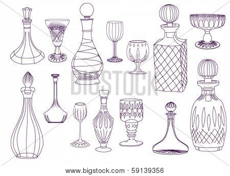 Antique Crystal Decanters and Glasses - Set of hand drawn crystal decanters and glasses, line art, black on white
