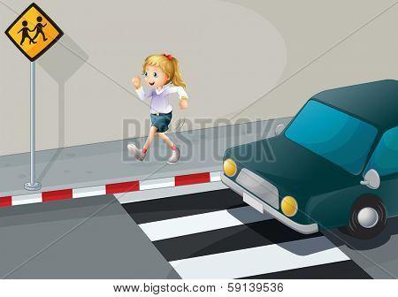 Illustration of a girl running at the streetside