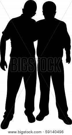 two friends silhouette vector