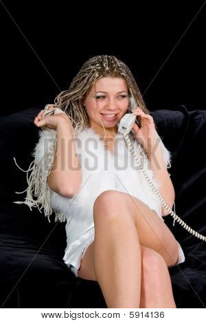 Portrait Sexual Girl With Telephone
