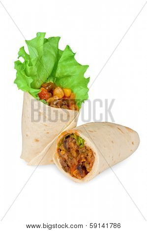 burrito with meat, haricot beans and vegetables