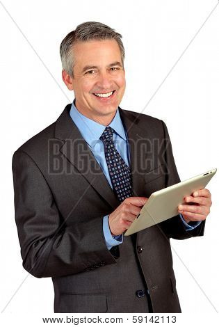 Portrait of a business man using a tablet