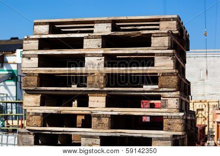 at a construction site store euro standard wooden pallets.