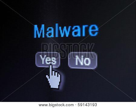 Privacy concept: Malware on digital computer screen