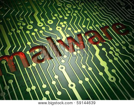 Privacy concept: Malware on circuit board background