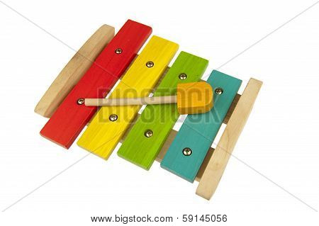Children Xylophone Isolated On White
