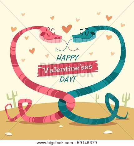 Two snakes fell in love. Valentine's Day Card. Vector illustration.