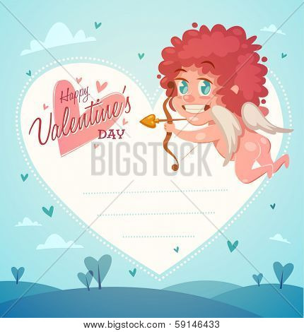 Cupid with bow and arrow. Valentine's Day Card. Vector illustration.