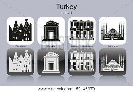 Landmarks of Turkey. Set of monochrome icons. Editable vector illustration.