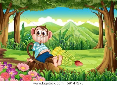 Illustration of a bloated monkey at the forest