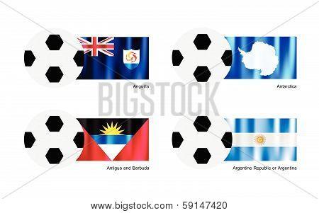 Football With Anguilla, Antarctica, Antigua And Barbuda And Argentina Flag