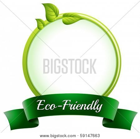 Illustration of a round empty template with an eco-friendly label at the bottom on a white background