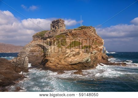 Rock And Lighthouse On Island Andros