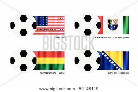 Football With Bikini Atoll, Bolivia, Bosnia And Herzegovina Flag
