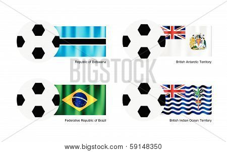 Football With Botswana, Antarctica, Brazil And Indian Ocean Flag