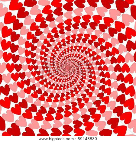 Design Red Striped Heart Helix Movement Background. Valentines Day Card