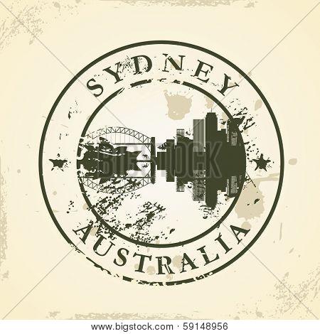 Grunge rubber stamp with Sydney, Australia - vector illustration