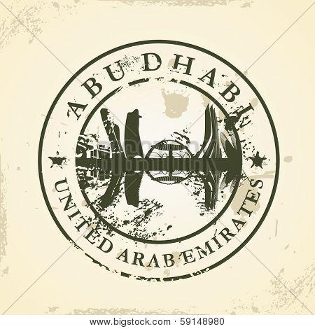 Grunge rubber stamp with Abu Dhabi, UAE - vector illustration