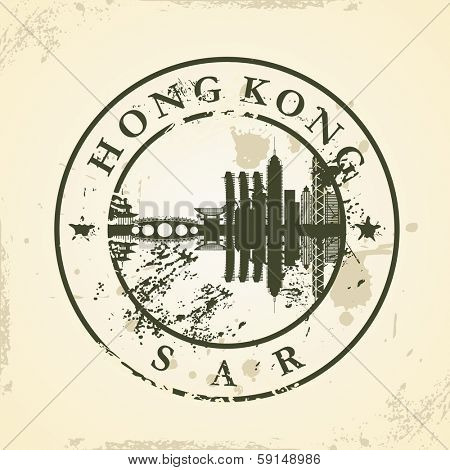 Grunge rubber stamp with Hong Kong, SAR - vector illustration
