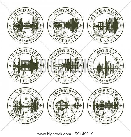 Grunge rubber stamps with Abu Dhabi, Sydney, Singapore, Bangkok, Hong Kong, Dubai, Seoul, Istambul and Moskow - vector illustration