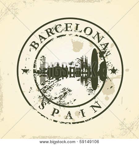 Grunge rubber stamp with Barcelona, Spain - vector illustration