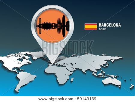 Map pin with Barcelona skyline - vector illustration