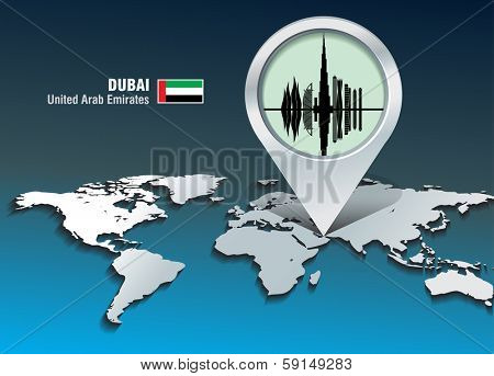 Map pin with Dubai skyline - vector illustration