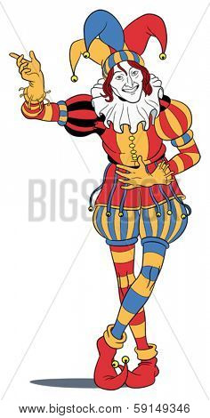 Jester in colorful costume taking a bow