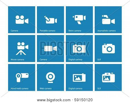 Camera icons on blue background.