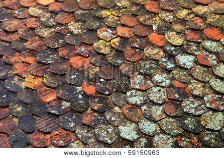 Old Brown Tile Roof Background
