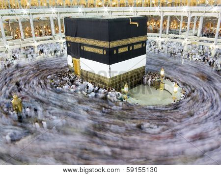 Kaaba the Holy mosque in Mecca with Muslim people pilgrims of Hajj praying in crowd (newest and very rare images of Holiest mosque after latest widening 2013-2014)