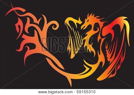 ier phoenix bird tattoo an gray background