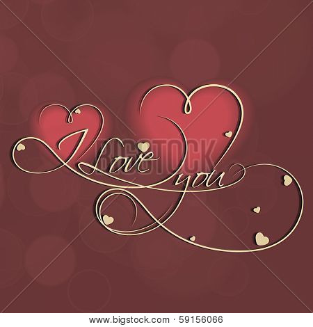 Beautiful greeting card for Happy Valentines Day celebration with golden text I Love You on abstract heart shape decorated background.
