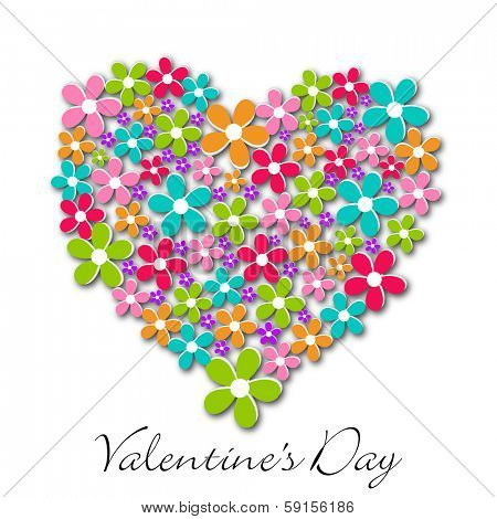 Happy Valentines Day celebration greeting card with floral decorated heart shape on abstract white background.