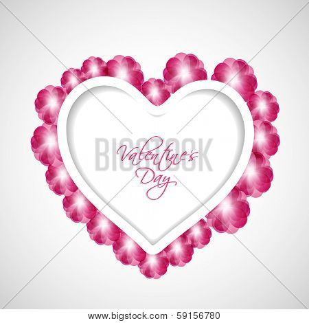 Happy Valentines Day celebration concept with beautiful heart shape on abstract grey background.