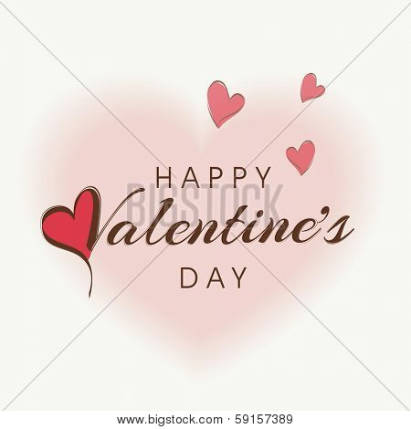 Happy Valentines Day celebration concept with stylish text Happy Valentines Day on pink heart shape decorated background.