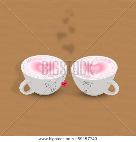 Coffee with love, Happy Valentines Day celebration concept with pink heart shapes on brown background.