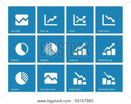 Line chart and Diagram icons on blue background.