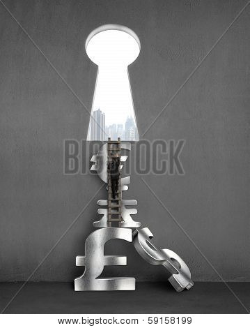 Businessman To Key Shape Door With Stack Money Symbols, City View