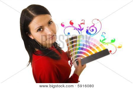 Woman Holding Color Guide