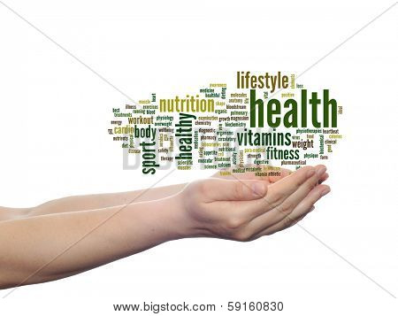 Concept or conceptual abstract health word cloud in human man hand isolated on white background